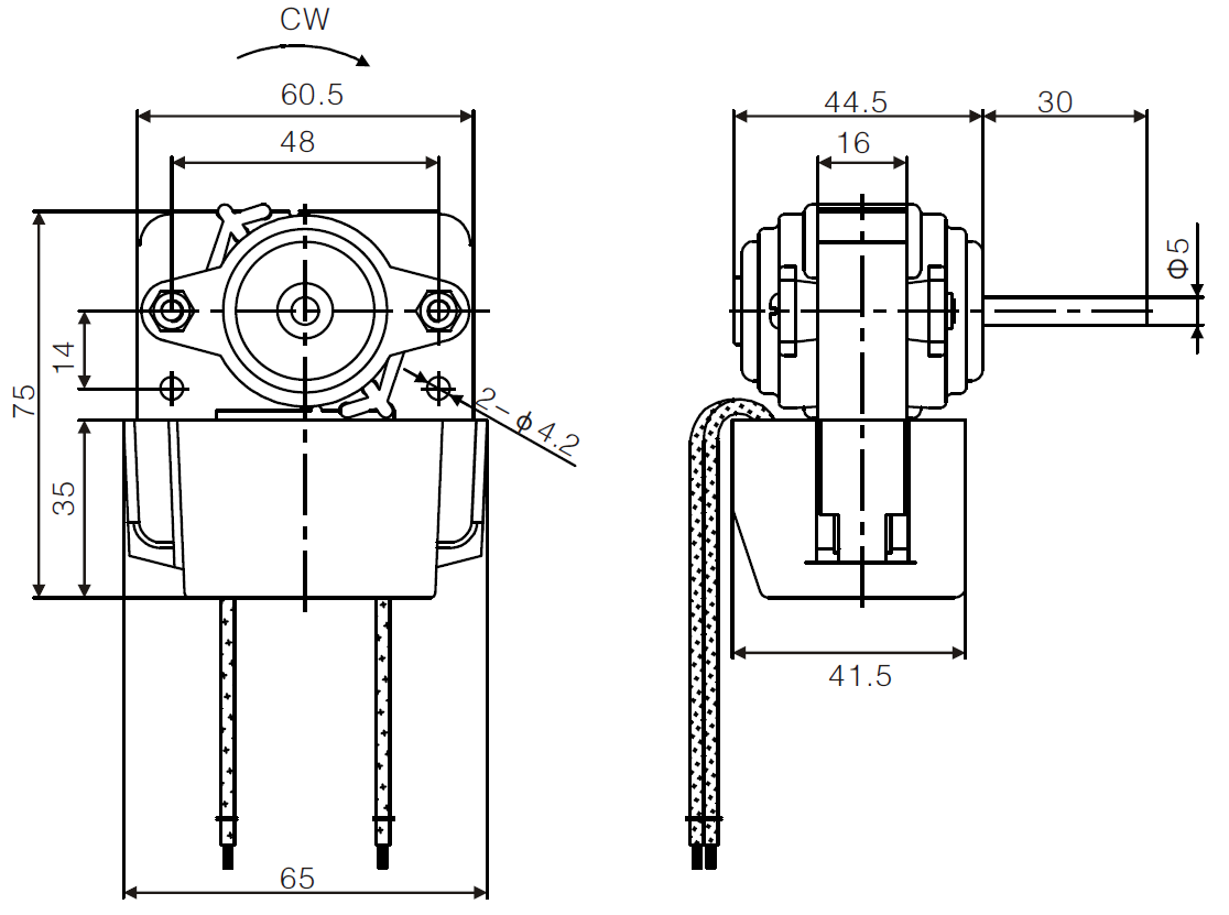 AC Refrigerator Fan Motor Drawing 2