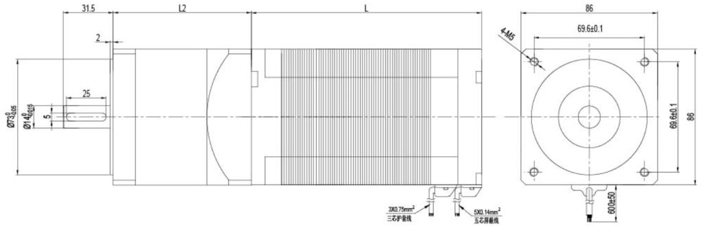 NEMA 34 24V 48V brushless dc motor drawing