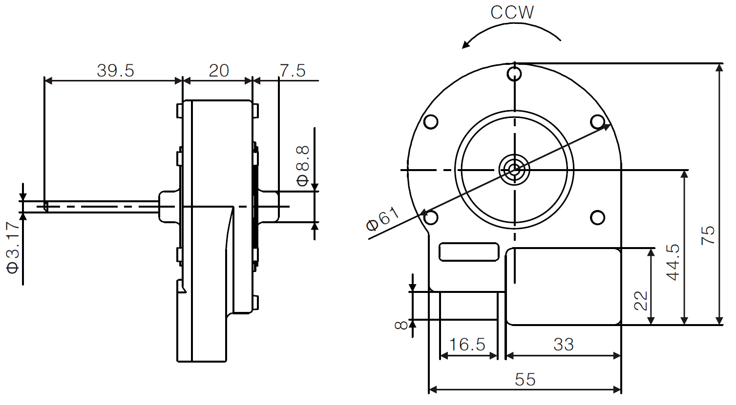 ECM refrigerator evaporator fan motor drawing 1