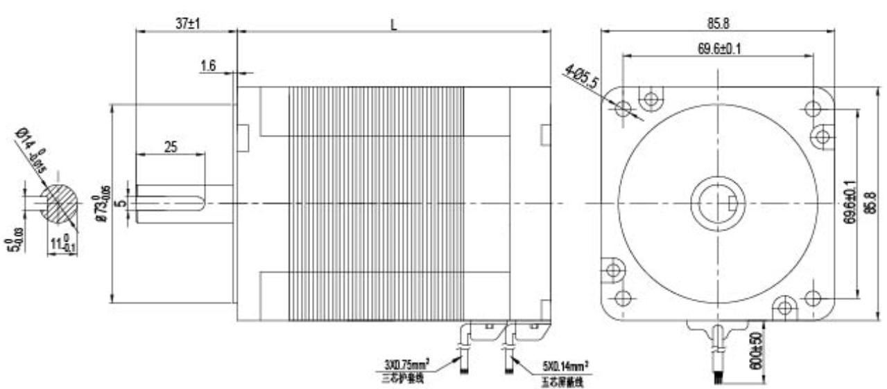 NEMA 34 24V 36V 48V brushless dc motor drawing