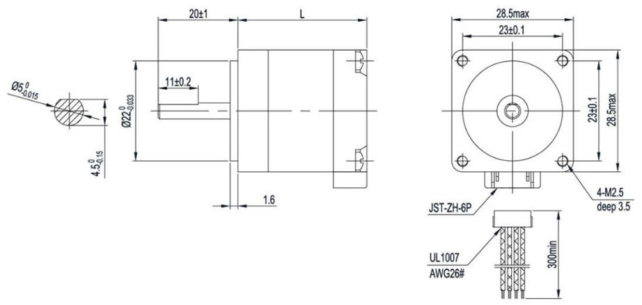 NEMA-11-1.8°-28mm-GM28BYG-Stepper-Motor-drawing