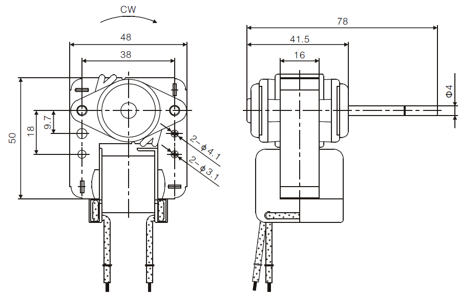 YJF48 shaded pole motor drawing 1