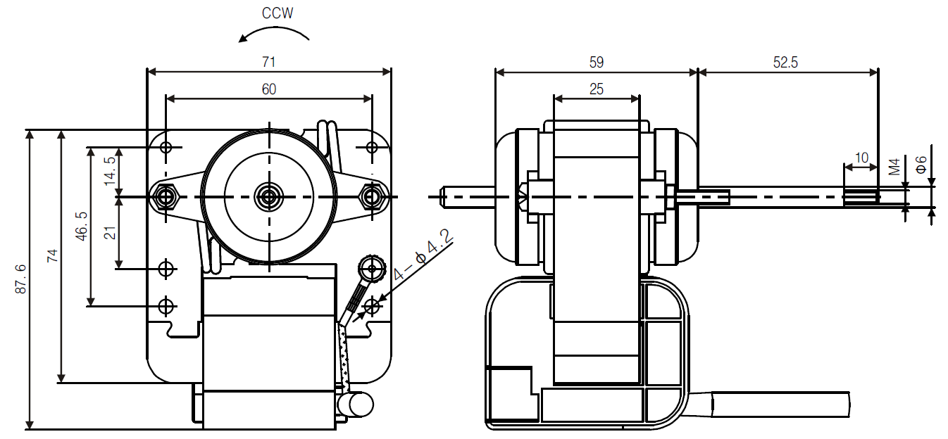 YJF51 c-frame shaded pole motor drawing