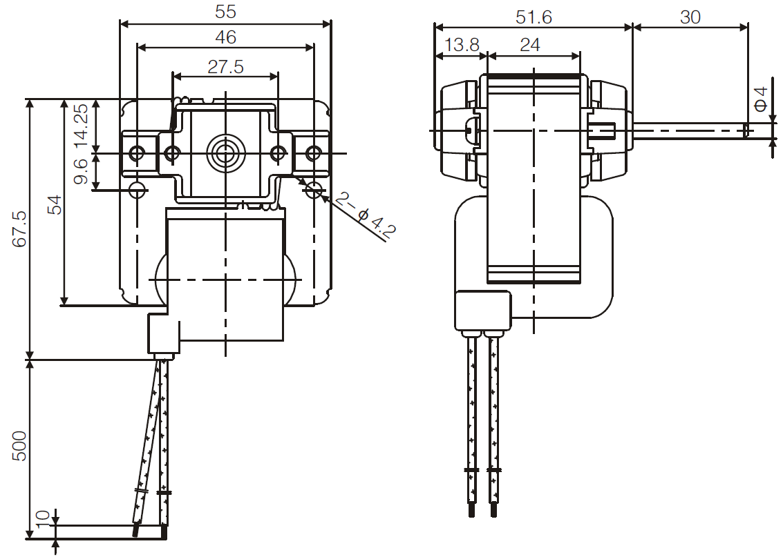 YJF55 c-frame shaded pole motor drawing