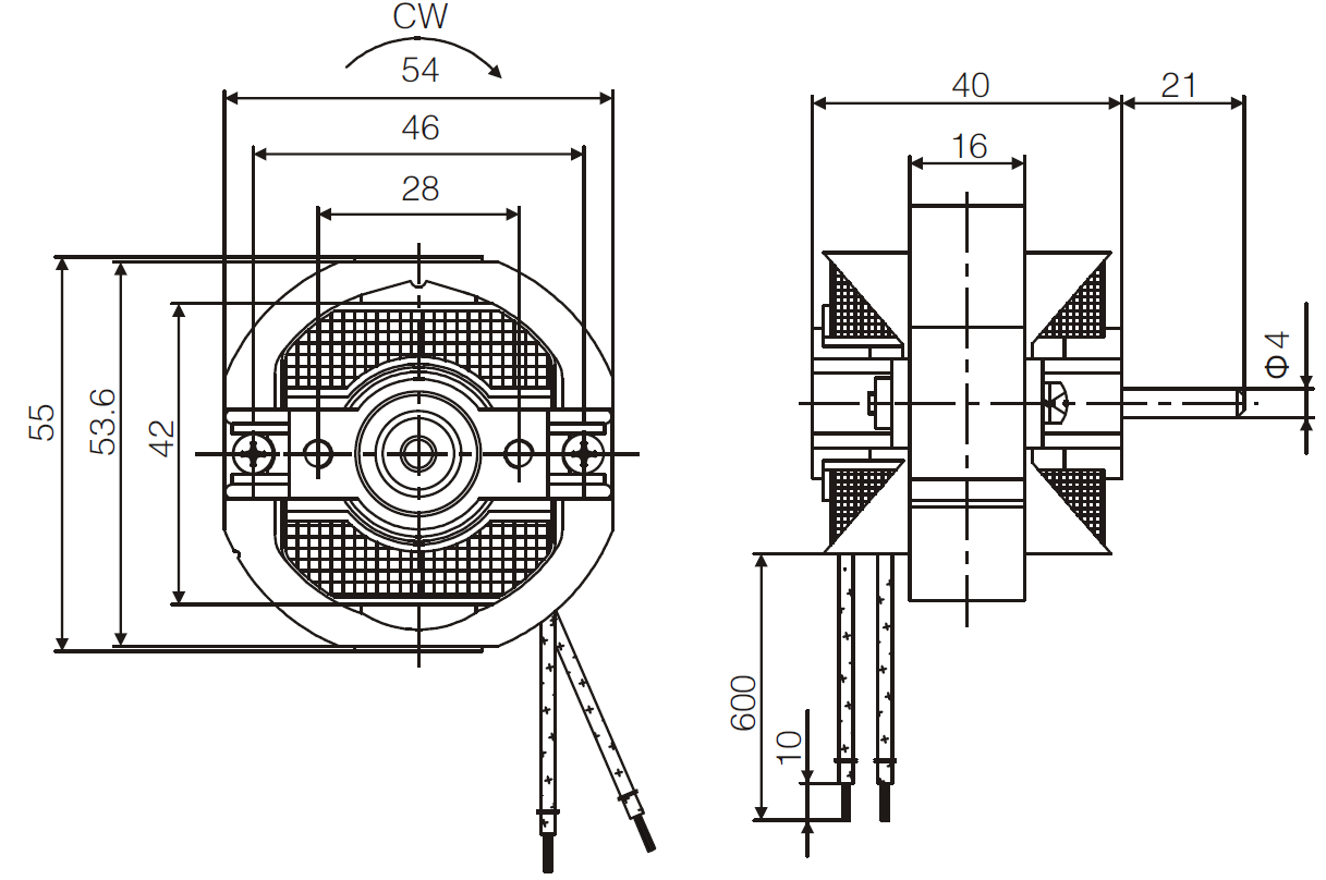 YJF58 c-frame shaded pole motor drawing