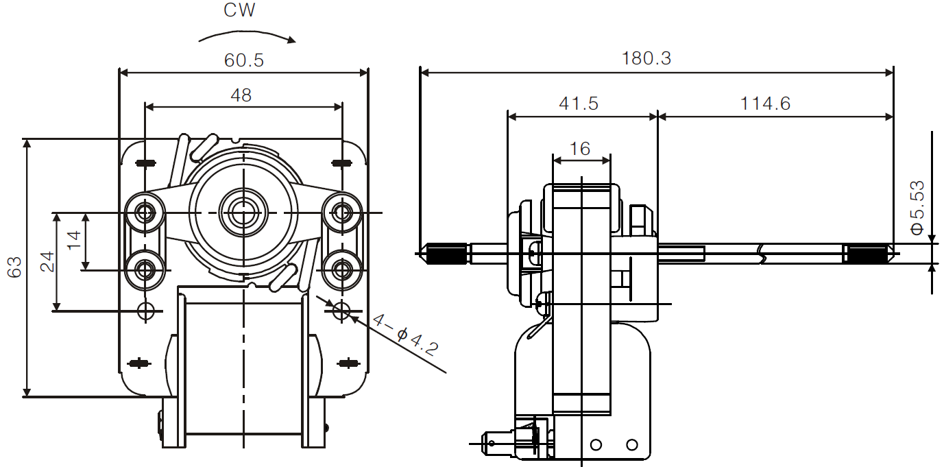YJF61 c-frame shaded pole motor drawing 2