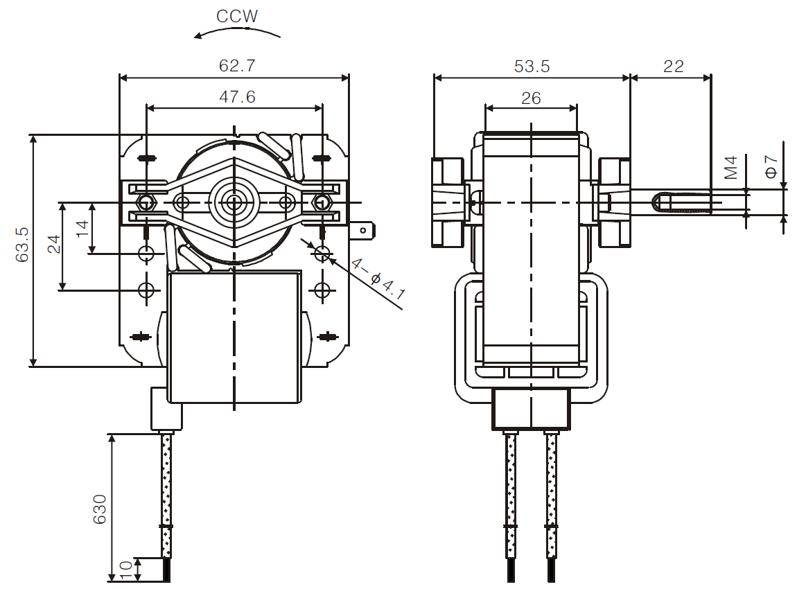 YJF61 c_frame shaded pole motor drawing 3