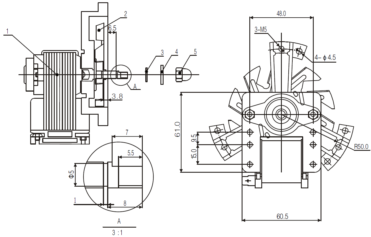 convenction oven fan motor drawing 2