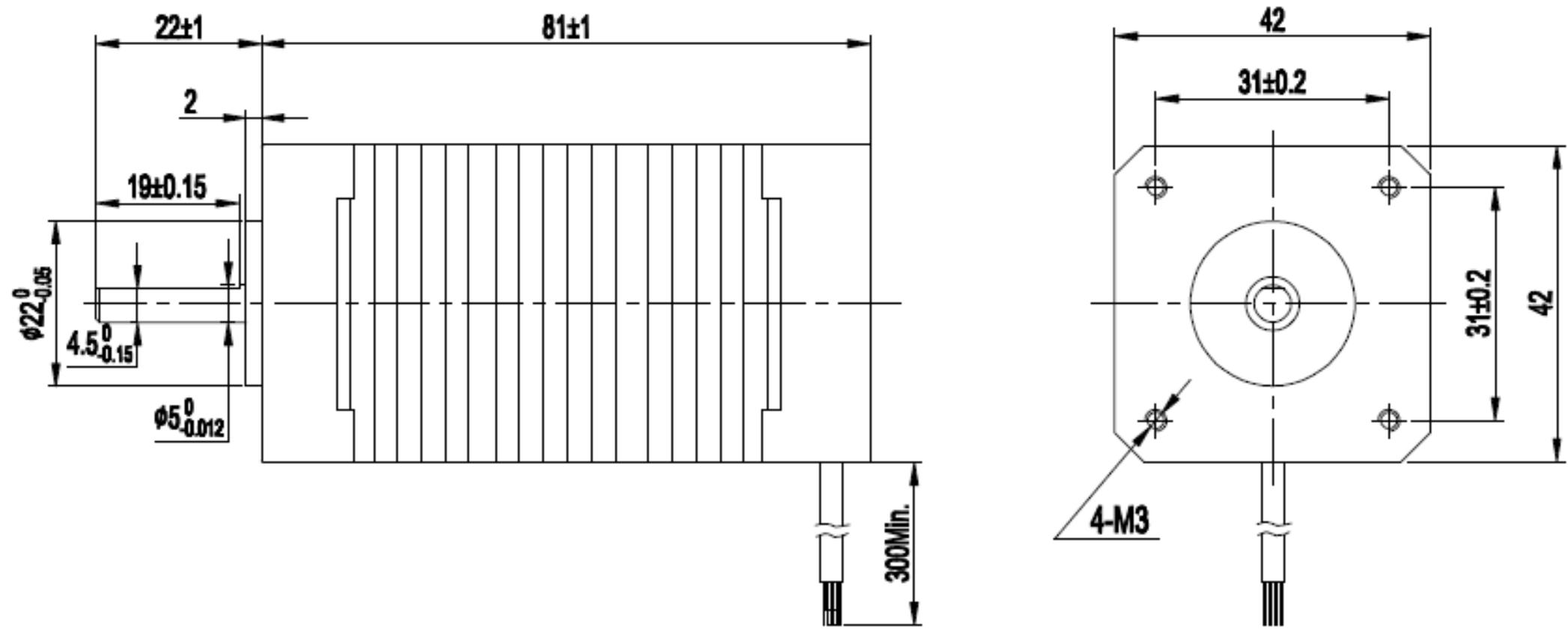 GM42BLF81-240 Brushless DC Motor Dimensions