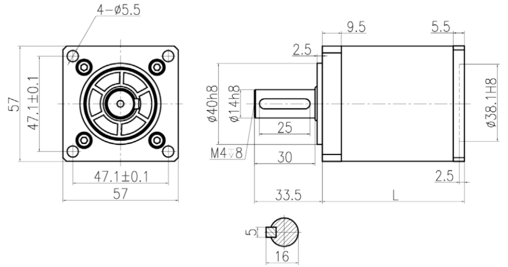 PL57 Square gearbox