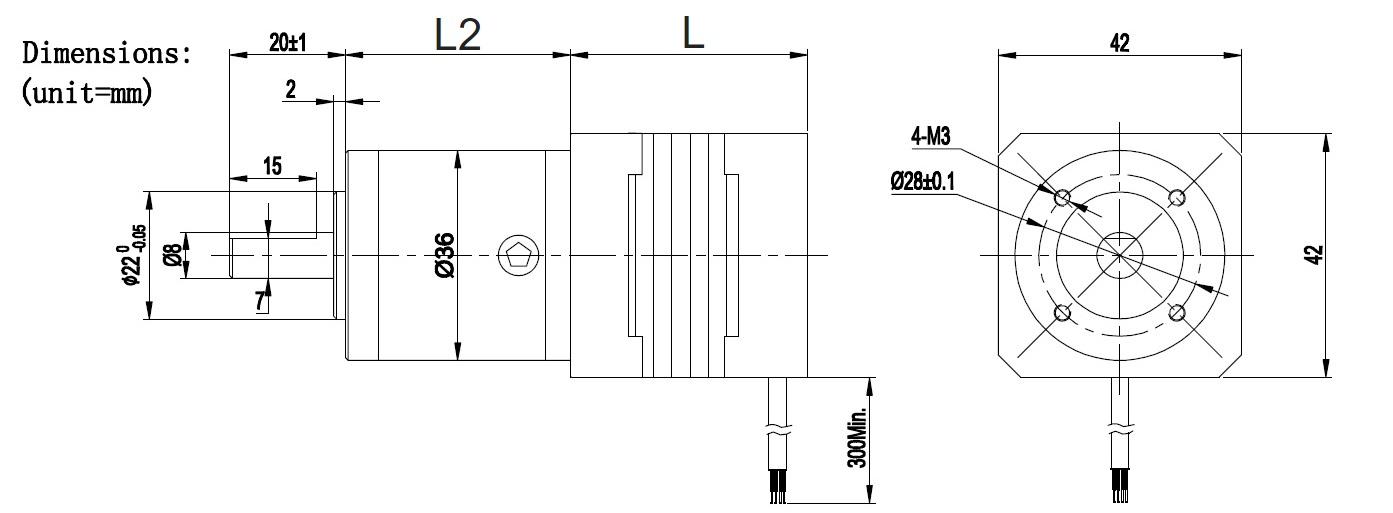 NEMA17 BLDC motor with gearbox1
