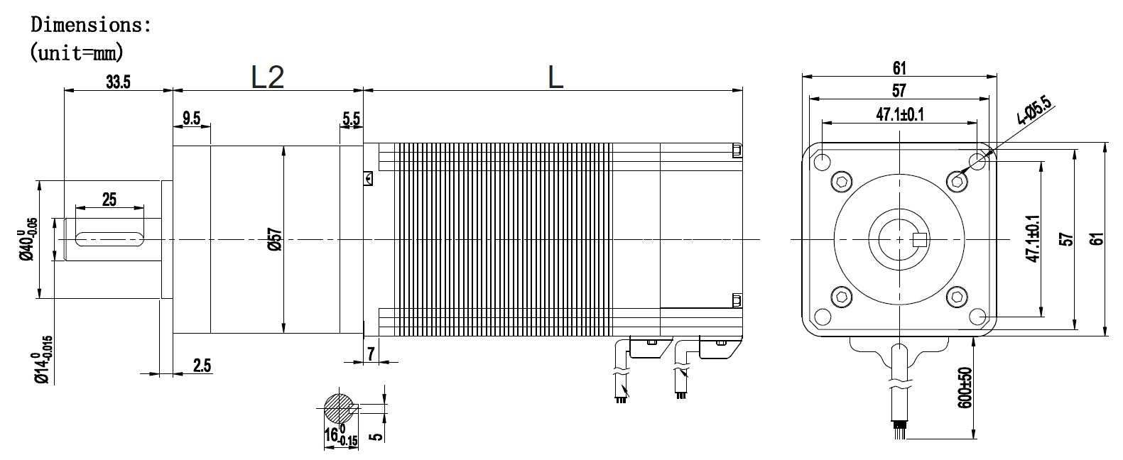 NEMA23 BLDC motor with square gearbox