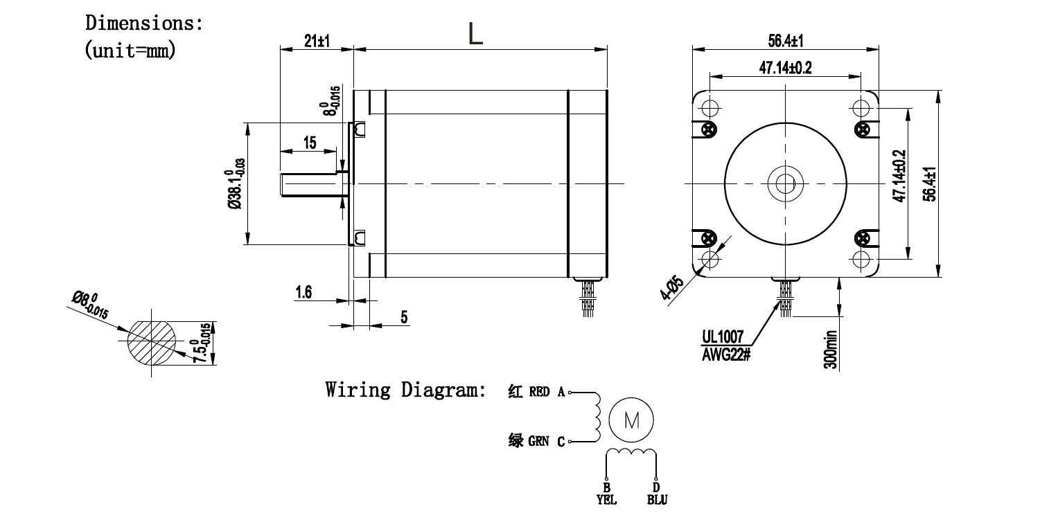 nema 23 stepper motor drawing